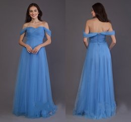 $enCountryForm.capitalKeyWord Australia - Sky Blue Pretty Off shoulders Bridesmaid Dresses Cheap Long Empire Waist Backless Pleated Ruched Tulle Prom Formal Dresses Evening Gowns