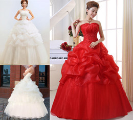 Wholesale New Women Rice white RED strapless Wedding dress long Wedding ball gown lady's evening dress Bandage Wedding Dress Embroidery
