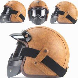 Vintage Motorcycle Helmet Xxl Australia - DOT AHP Retro Helmet Handmade Personality Vintage For Harley Helmet Motorcycle Motocross 3 4 Leather Half Men Women S-XXL