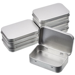 small metal storage boxes 2019 - Tin Container Rectangular Hinged Containers Small Storage Kit Silver Metal Empty Mini Portable Tin Box Craft Containers