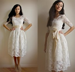 Discount high country bows - Beach Tea Length Lace Wedding Dresses Vintage Illusion Top Short Sleeve Country Bridal Gowns Bohemian Sexy Classy Cheap