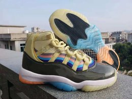 Rainbow Basketball Shoes NZ - 2018 New Designer Sean Wotherspoon x 11 11s Mens Basketball Shoes High Jumpman Trainers Multi Rainbow Yellow Black Red Sneakers 40-47