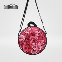 Red Rose Black Bag UK - Dispalang Mini Circular Messenger Bags For Little Girls Daily Handbags Red Rose Printing Crossbody Shoulder Bag For Kindergarten