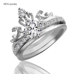 fashionable crowns 2019 - Three Ring Sets Queen's Crown Rings Modern Fashionable Jewelry Clear CZ Crystal Jewelry Love Rings Femme Bijoux Wedding