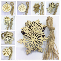 Word Costume NZ - 10pcs Lot Christams Ornaments Decorations for Wooden Snowflake Piece Word Love Arrow Hanging Pendant with Strap Xmas Gifts Crafts 11 Designs