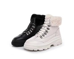 35 Hair UK - 2018 New Arrival Winter Rabbit Hair Leather Fashion Women Ankle Boots All Black White Bottines for Snow Bottes High quality Size 35-39