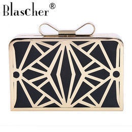 box handbags Canada - Blascher Fashion Hollow Out Box Cage Women Handbag Lady Clutch Messenger Pouch Purse Bags Chain Shoulder Metal Evening Bag SCA74