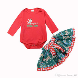 Reindeer Girls Set UK - My first Christams baby girls reindeer romper dot skirt 2-piece set dresses outfits children toddler infant long sleeve kid girl clothing