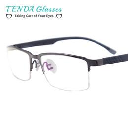 50aff75ab5 Men Classic Metal Prescription Eyeglass Frame Half Rim Rectangular Glasses  For Rx Myopia Reading Multifocal Lenses