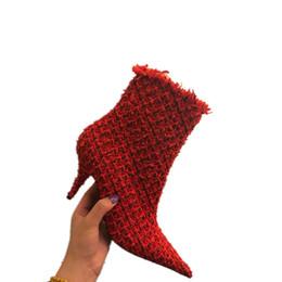 Discount sexy weaves - Luxury Women Boots Plaid Fabric Autumn Winter Ankle Boots High Heels Female Booties Sexy Botas De Mujer Woven Knit Ladie