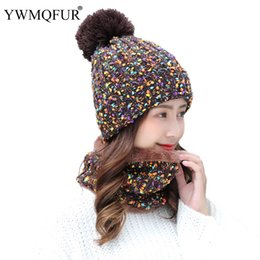 f6366303a28f6c 2018 Winter Hat Scarf Sets For Women Vintage Knit Lady Beanies Cap Girl  Outdoor Warm Colorful Skullies Hats Female Rings Scarves
