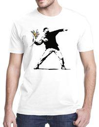 $enCountryForm.capitalKeyWord Australia - Logo T Shirts Short Sleeve Male Pattern Banksy Flower Thrower Fashion Crew Neck T Shirts For Men