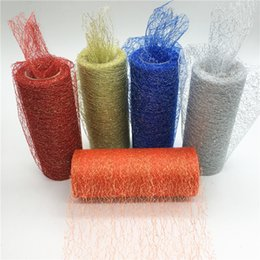colour wire NZ - 15cm*10Y Gold Wire Organza Sheer Gauze Table Runner Tissue Tulle Roll Spool Craft Party Wedding Decoration 10 Colour