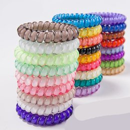 Wholesale 25 colors cm Telephone Wire Cord Hair Ring Gum Headbands Colored Elastic Hair Band For Girl Hair Accessories Headwear