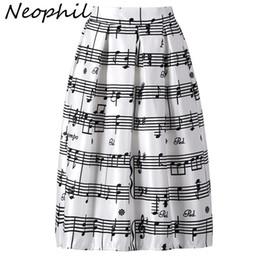 Wholesale piano print for sale – custom Neophil Winter Piano Music Note Melody Print High Waist Pleated Ball Gown Satin Flared Midi Women Skirts Tutu Saia S08024