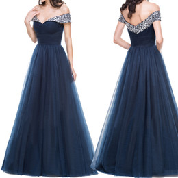 blue beaded Australia - Off the Shoulder Heavy Beaded Long prom Gowns Silver Crystals Navy Blue Tulle Evening Dress Floor Length Party Dress