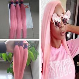 Human Weaving Hair Sale Bundles Australia - New Sale Hot Pink Colorful Human Hair Weave Extensions 3 Pcs Lot Brazilian Silky Straight Virgin Remy Hair Weft 3 Bundles