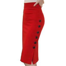 ac5013adc5 Plus Size New Fashion 2016 Women Skirt Midi Skirt Slim OL Sexy Open Slit  Button Slim Pencil Skirt Elegant Ladies Skirts 2 Colors