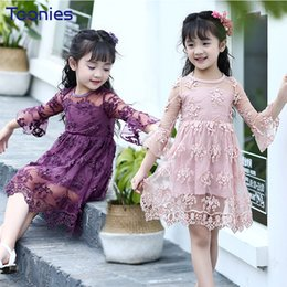 lovely clothes Australia - Hot Sale Girls Dress 2017 New Fashion Baby Girl Dresses Lovely Princess Lace Dress Children Floral Pattern Clothing High Quality