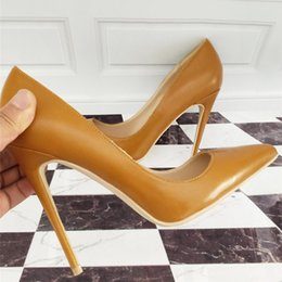 e0c611b548ed49 Free Shipping fashion woman women lady 2018 New earth yellow Leather Poined  Toes Wedding heels Stiletto High Heels shoes pumps