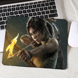 Wholesale video games series online – design Congsipad Hot Video Game Movie Tomb Raider Series Pc Computer Gaming Mousepad Beauty Girls Lara Croft Cool Game Mouse Pad Mat