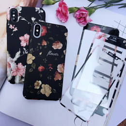 Iphone Plus Case Floral NZ - Vintage Flowers Phone Case For iphone X Case For iphone 6S 6 7 8 Plus Back Cover Color Cartoon Floral Cases Hard PC With Tempered Film