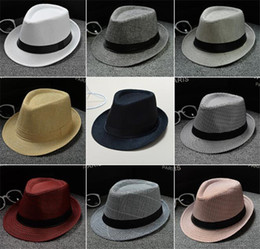 cotton stingy brim fedoras NZ - 50pcs Vogue Men Women Cotton Linen Straw Hats Soft Fedora Panama Hats Outdoor Stingy Brim Caps J067