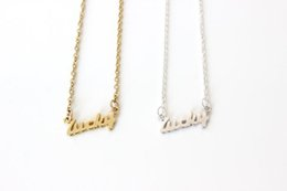 Stamped Pendant Necklace NZ - 10pcs Tiny Stamped Lucky Letters Necklace Gold Silver Lucky Word Pendant Good Luck Necklaces for Friends Gifts
