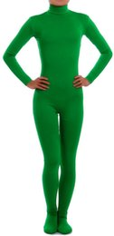 Catsuit Zentai Lycra Spandex Costumes Australia - Adult Lycra Long Sleeve Green Unitard Bodysuit Dancewear Mock Neck Lycra Spandex Catsuit Zentai Halloween Costumes