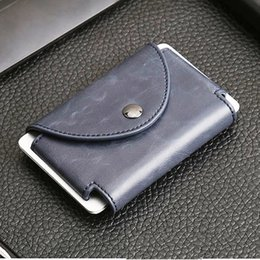 Wholesale The ultra thin metal crazy horse PU credit card holder RFID chief travel Mini Wallet Card Holder Porte ordering wallet male man