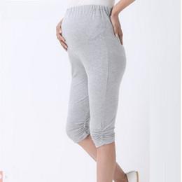 Discount three quarters trousers - summer maternity pants capris modal three quarter trousers pregnant pants adjustable waist maternity leggings