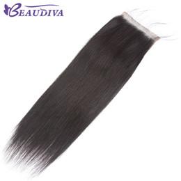 $enCountryForm.capitalKeyWord NZ - BeauDIVA Indian Straight Hair 4x4 Lace Closure Free Part 100% Human Hair 8-20 inch Natural Color Virgin Hair Free Shipping