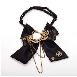 Neck Gear Australia - 1pc Steampunk Bow Neck tie Industrial Victorian Lolita Punk Gear Bowknot for Blouse Accessory