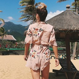$enCountryForm.capitalKeyWord Australia - Women Jumpsuit 2018 Romper Shorts Summer Chiffon Floral Print Bandage Plus Size Boho Beach Party Holiday Casual Female Clothing