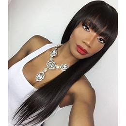 human hair lace wig side bangs 2019 - Silk Top Lace Wigs Glueless Side Bangs Virgin Brazilian Human Hair Silk Base Wigs With Bangs 5*4.5'' Silk Top