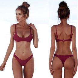 f7c3f1c074c SHUANG Solid Thong Bikinis Set 2018 Strip Female Swimwear Women Plus Size  Swimsuit Halter Swimming Suit Bathing Suit Biquini