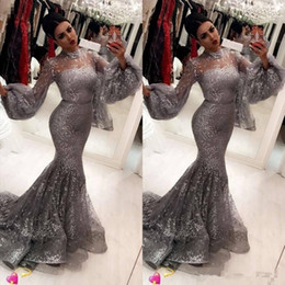 evening dress trumpet embroidery NZ - Fashion Sequins Mermaid Prom Dresses Sexy Hihg Neck Trumpet Long Sleeves evening dresses Attractive Stylish evening dresses