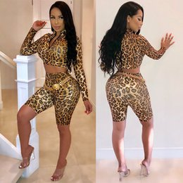 Discount leopard print motorcycle - Women leopard print Hoodies Two Piece Set Outfits High Neck Crop Tops Shorts Tracksuit Pullover Sweatshirt Short Pant Sp