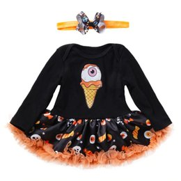 Infant Halloween Costumes Months NZ - Mexican Skull Toddler Halloween Costume for Baby Girl Clothes Sets Romper Dress Headband Girls Halloween Outfits Infant Clothing