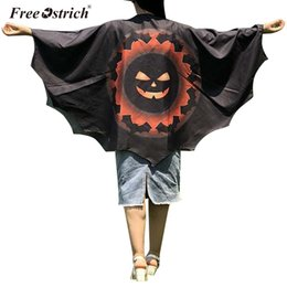 Wholesale pumpkin costume women for sale – halloween Free Ostrich Women Novelty Pumpkin Print Cape Scarf Halloween Poncho Shawl Wrap Costume High quality Womens Shawl Scarves N30