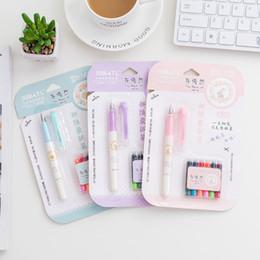 $enCountryForm.capitalKeyWord Australia - 1 Sets Cute Creative New 6 Color Ink Fountain Pens Signature Pens For Office Supplies