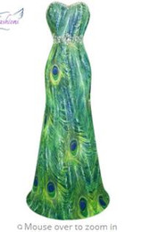 773a285e289 Angel-fashions Chiffon Strapless Beading Rhinestone Peacock Printing Long  Evening Dress Green 039