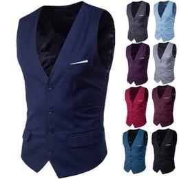 Grey color suit male online shopping - Cotton Mens Business Casual Slim Vests Fashion Men Solid Color Single Buttons Vests Fit Male Suit for Spring Autumn S XL Plus size