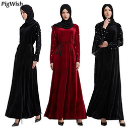$enCountryForm.capitalKeyWord NZ - 2018 Islamic Dress Pearl Abaya Muslim Moroccan Kaftan Arabic Robe Musulmane Velvet Long Sleeve Turkish Caftan Dubai Arab