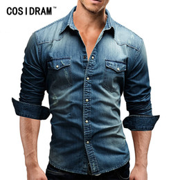 bee1e033c86 COSIDRAM Men Shirt 2018 Casual Denim Male Long Sleeve Shirts Men Casual  Shirt Fashion Slim Mens Jeans Shirts Plus Size MC-008