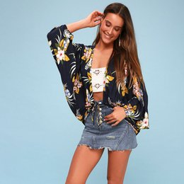 da4d8eacc9c0 Women Blouses Boho Floral Kimono Tie Front Long Sleeve Cardigan Top Cover  up Beach Wear Summer Blouse