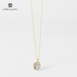 Dangling Chain NZ - Amaiyllis Cute Full Crystal Small Charm Pendant Dangle Necklace For Women Simple Gold Color Metal Clavicle Chain Collar Colliers
