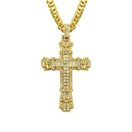 Fast Free Shipping Pendants NZ - gold silver plated Men hip hop iced out cross pendant necklaces with 76cm link chain necklace bling bling jewelry fast free shipping