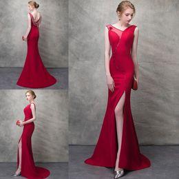 fashion design major 2019 - Red Elegant Prom Dresses High Quality Beading Satin Evening Gowns Side Split Formal Party Dresses With Unique Neck Desig