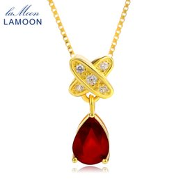 China Lamoon Tears of lovers Natural Water Drop Ruby 925 Sterling Silver Chain Pendant Necklace Jewelry S925 LMNI034Y1882701 supplier sterling dog tags suppliers